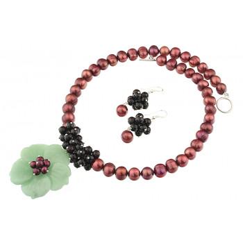 Set floare aventurin, granat si perle de cultura