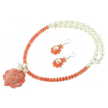 Set floare coral roz si perle de cultura