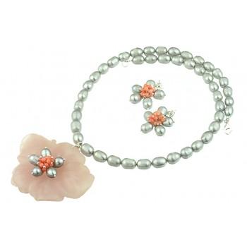 Set floare cuart roz, coral si perle de cultura
