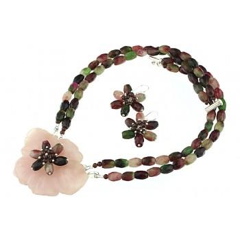 Set floare cuart roz si turmalina curcubeu