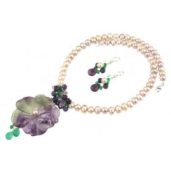 Set floare fluorina, ametist, jad si perle de cultura