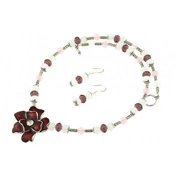 Set floare grena, cuart roz si cristale