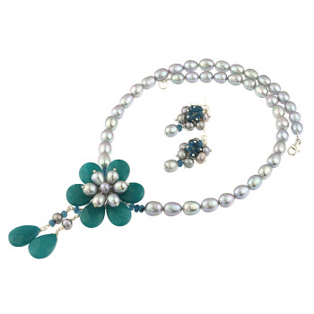Set floare jad teal si perle de cultura