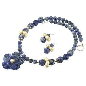 Set floare sodalit, agat bluespot si perle de cultura