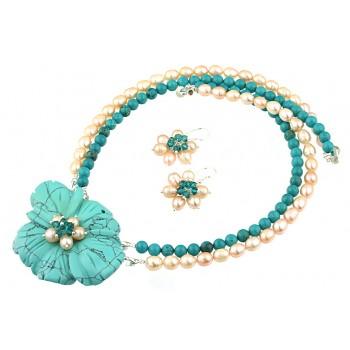 Set floare turcoaz, cristale Swarovski si perle de cultura
