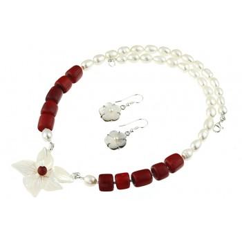 Set flori din sidef, coral si perle de cultura