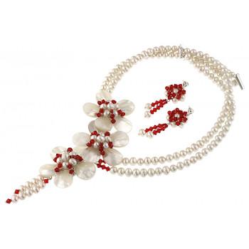 Set flori din sidef, perle naturale si Swarovski Light Siam
