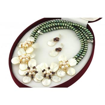 Set flori din sidef, perle de cultura, granat si Swarovski