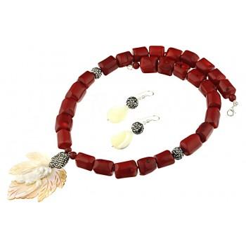 Set impunator din frunza sidef, coral rosu si argint
