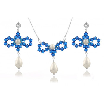 Set fundite din argint, perle Mallorca si cristale Swarovski