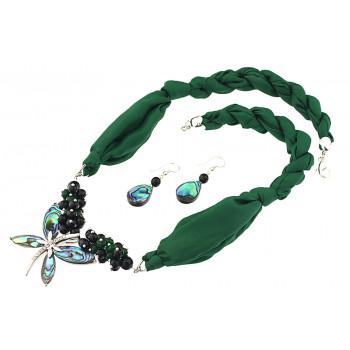 Set libelula Paua, onix, jad verde si matase naturala
