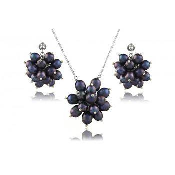 Set lung din argint si flori din perle naturale