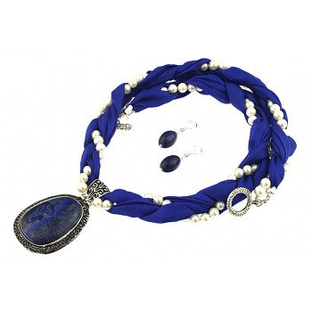 Set matase albastra, perle de Mallorca si lapis lazuli