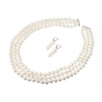Set multisir din perle naturale albe 6 - 8 mm A  si argint