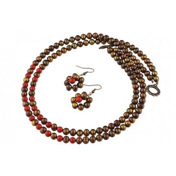 Set multisir perle de cultura maro si coral rosu