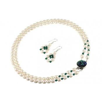Set multisir perle de cultura si Swarovski Emerald