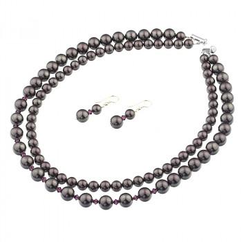 Set multisir perle de Mallorca mov, cristale Swarovski si argint