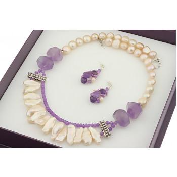 Set impunator din perle Biwa, perle baroc si ametrin