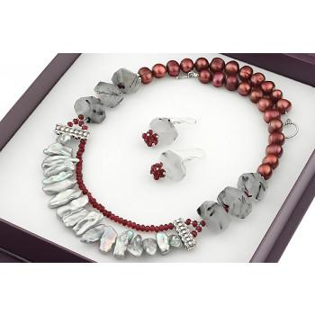 Set impunator din perle Biwa, perle baroc si cuart rutilat