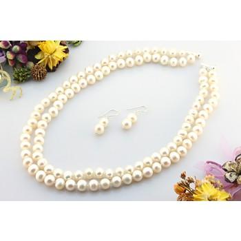Set perle de cultura albe 7 - 8 mm A si argint
