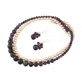Set perle de cultura lila, ametist si argint