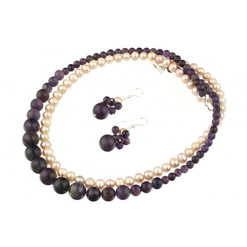 Set perle naturale lila, ametist si argint