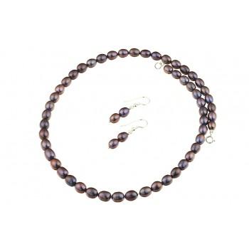 Set perle de cultura negre ovale si argint