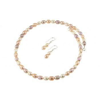 Set perle de cultura ovale trei culori si argint