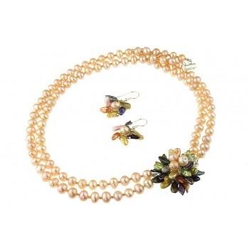 Set perle de cultura piersica, perle Biwa si argint