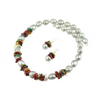 Set perle de cultura si perle Biwa multicolore