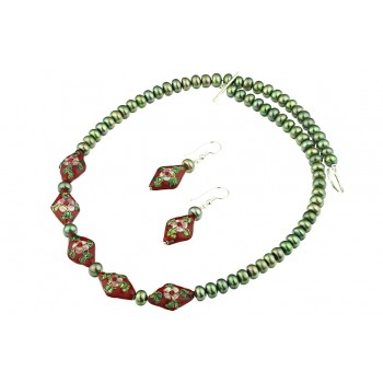 Set perle de cultura verzi si Cloisonne