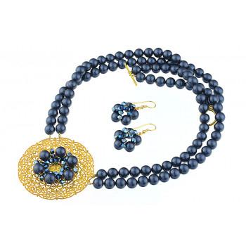 Set perle de Mallorca albastre si cristale Swarovski