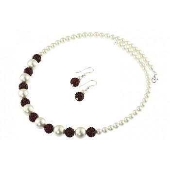 Set perle de Mallorca albe si rhinestone grena