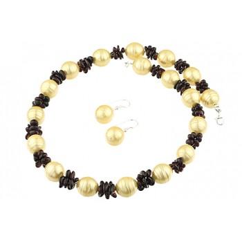 Set perle de Mallorca aurii, granat si argint