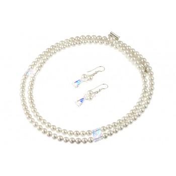 Set perle de Mallorca, cristale Swarovski keystone si argint