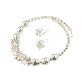Set ciorchine din perle de Mallorca, cuart si argint