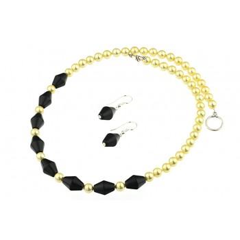 Set perle de Mallorca aurii si agat negru