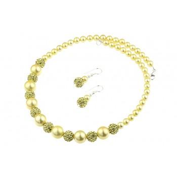Set perle de Mallorca aurii si rhinestone