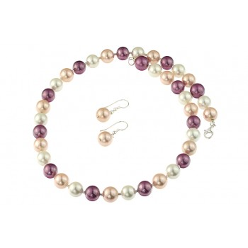Set perle de Mallorca multicolore si argint