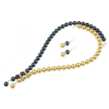 Set perle de Mallorca negru-auriu
