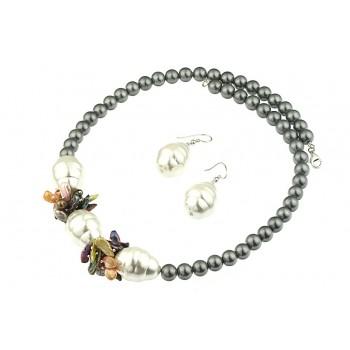 Set perle de Mallorca, perle Biwa si argint