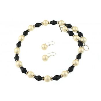 Set perle de Mallorca stardust si agat negru