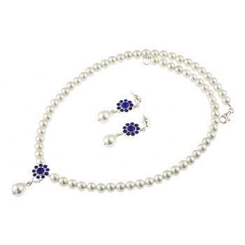 Set perle de Mallorca si cristale albastre