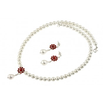 Set perle de Mallorca si cristale rosii