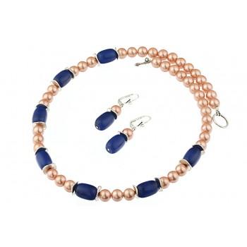 Set perle de Mallorca si jad bleumarin