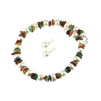 Set perle de Mallorca si perle Biwa multicolore