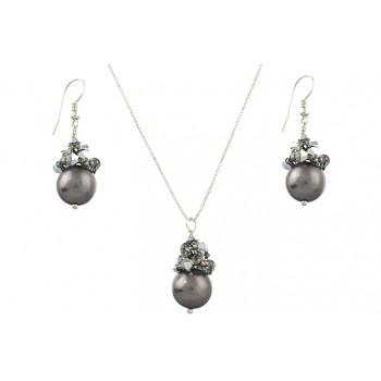 Set perle Mallorca, Swarovski Comet Argent si argint
