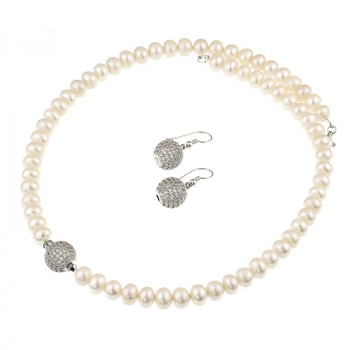 Set perle naturale albe buton si rhinestone