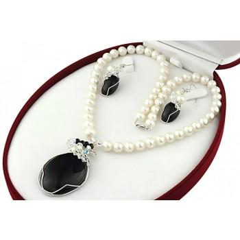 Set perle naturale, onix, Swarovski si argint