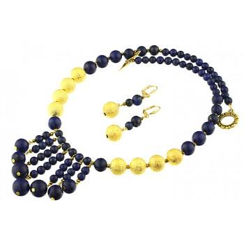 Set salba lapis lazuli si margele stardust aurii